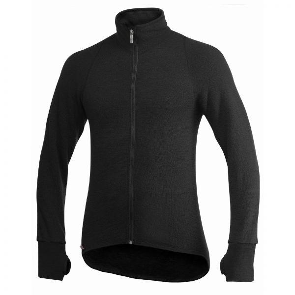 Framsida av svart mellanlager tröja med hög krage och långt blixtlås. Namn på produkt Full Zip Jacket 400