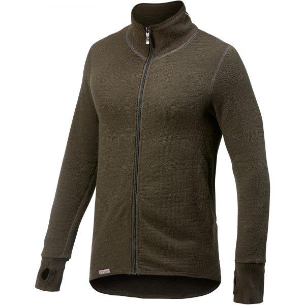 Framsida av grön mellanlager tröja med hög krage och långt blixtlås. Namn på produkt Full Zip Jacket 400